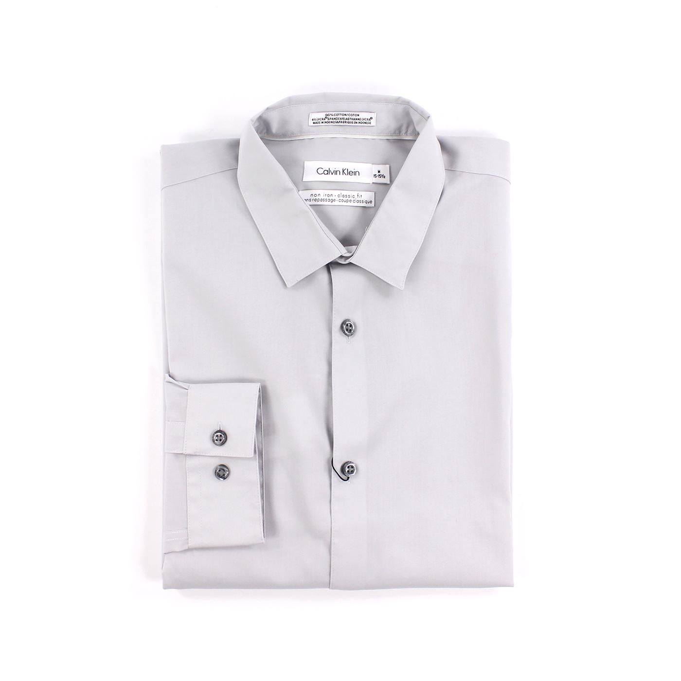美國百分百【全新真品】Calvin Klein 襯衫 CK 男衣 上班 淺灰色 長袖 上衣 商務 專櫃款 M號 C615