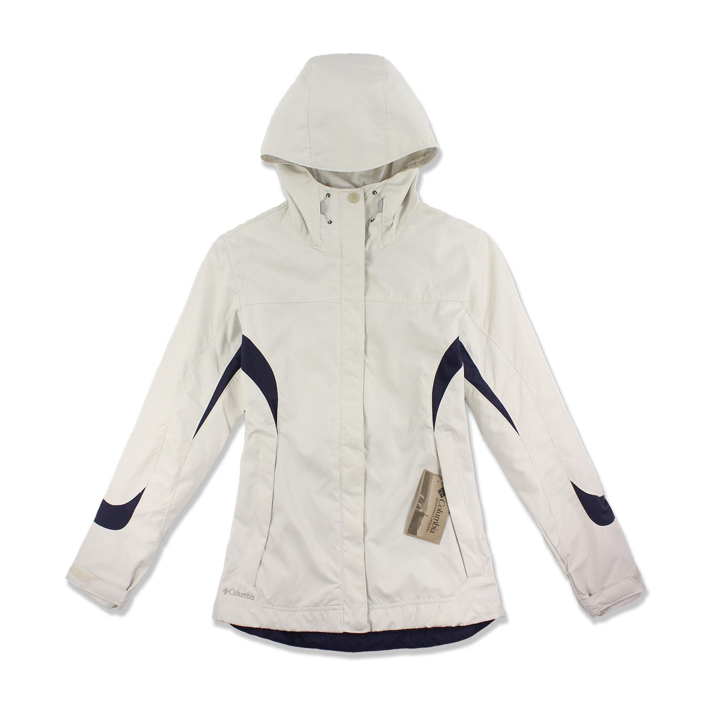 美國百分百【全新真品】Columbia 外套 夾克 連帽外套 哥倫比亞 米白 防水 防風 快乾 女 M號 F478