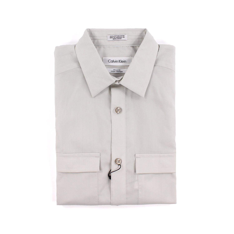 美國百分百【全新真品】Calvin Klein 襯衫 CK 男衣 上班 灰色 長袖 上衣 商務 雙口袋 XS號 F482