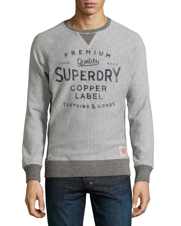 美國百分百【全新真品】Superdry 極度乾燥 T恤 T-shirt 大學T 長袖 鋪棉 復古 S號 灰色 S M L XL XXL號 F486