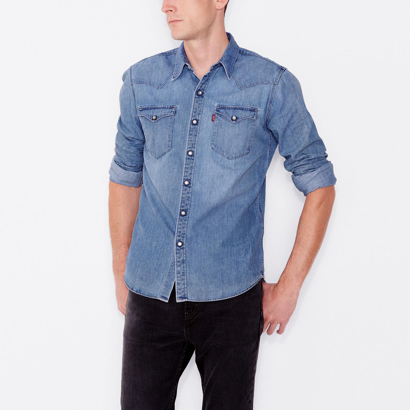 美國百分百【全新真品】Levis 襯衫 長袖 牛仔 單寧 上衣 經典 珠扣 口袋 高磅數 S M L XL號 F491