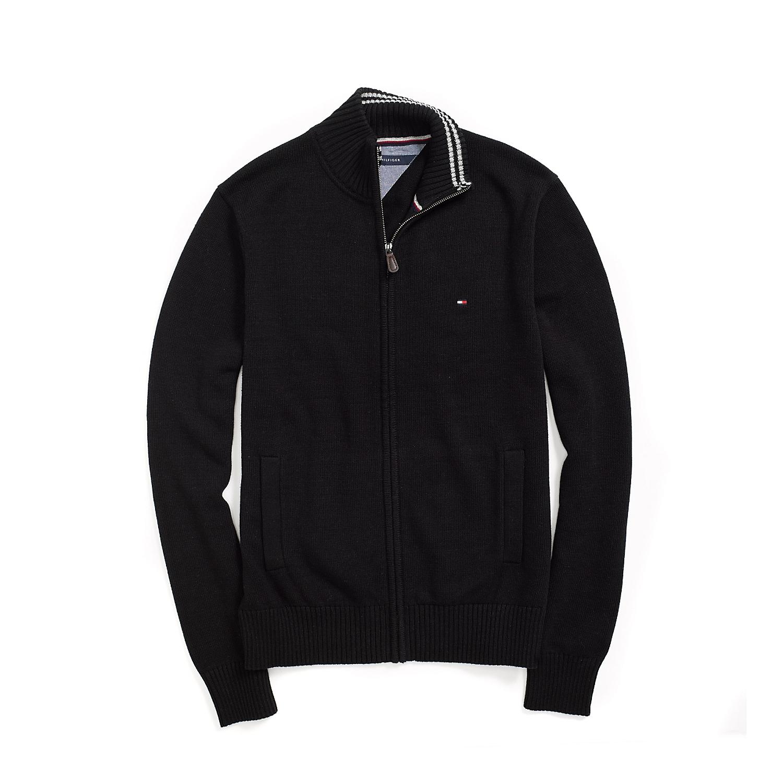 美國百分百【全新真品】Tommy Hilfiger 外套 TH 針織衫 線衫 長袖 黑色 素面 立領 男 S號 F492