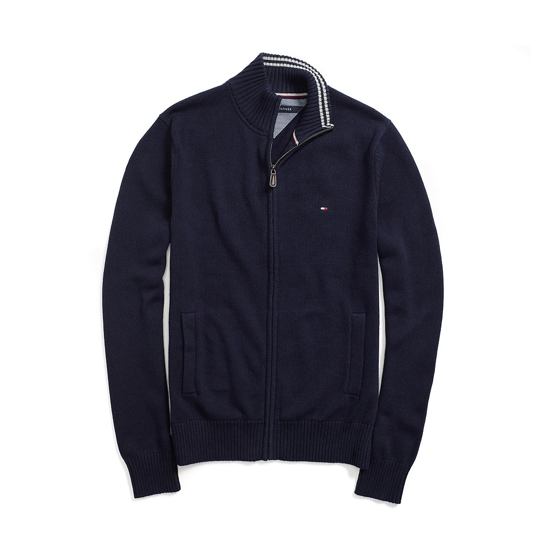 美國百分百【全新真品】Tommy Hilfiger 外套 TH 針織衫 線衫 長袖 深藍 素面 立領 男 S號 F492