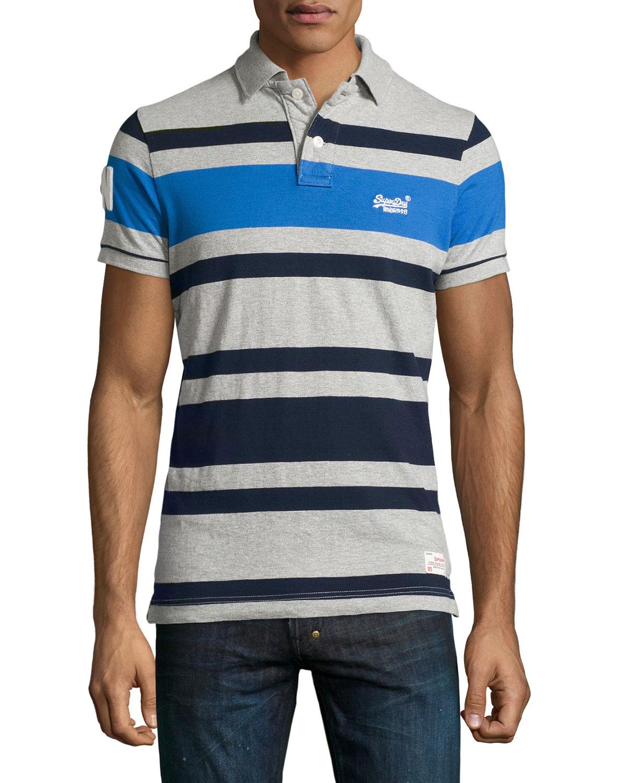 美國百分百【全新真品】Superdry 極度乾燥 polo衫 上衣 短袖 灰色 藍色 條紋 復古 S號 F494