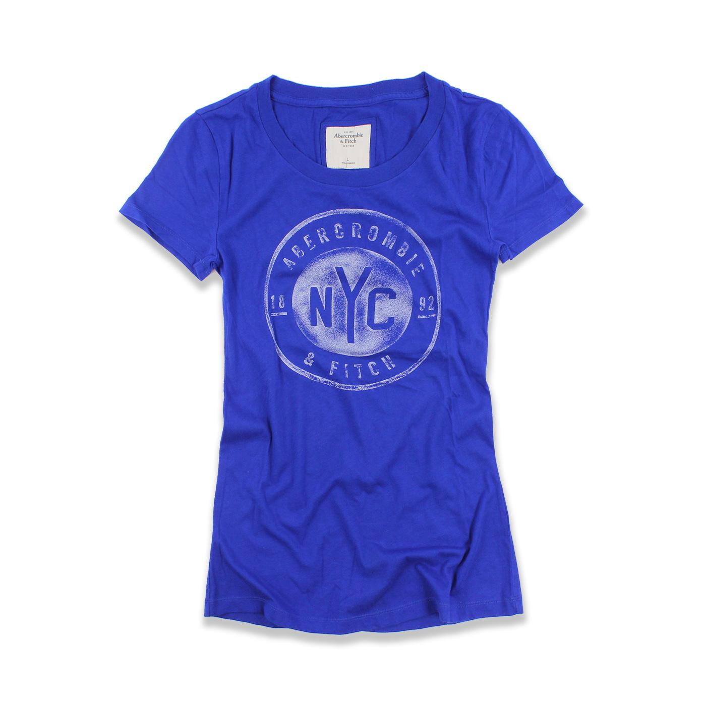 美國百分百【Abercrombie & Fitch】T恤 AF 短袖 短T 麋鹿 NYC 女 寶藍色 L號 F517
