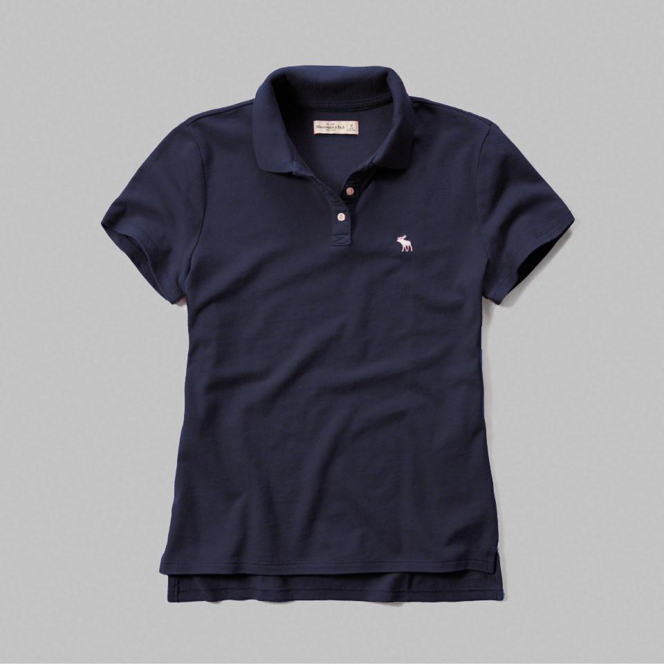 美國百分百【Abercrombie & Fitch】POLO衫 AF 短袖 麋鹿 上衣 女 深藍色 S號 F521
