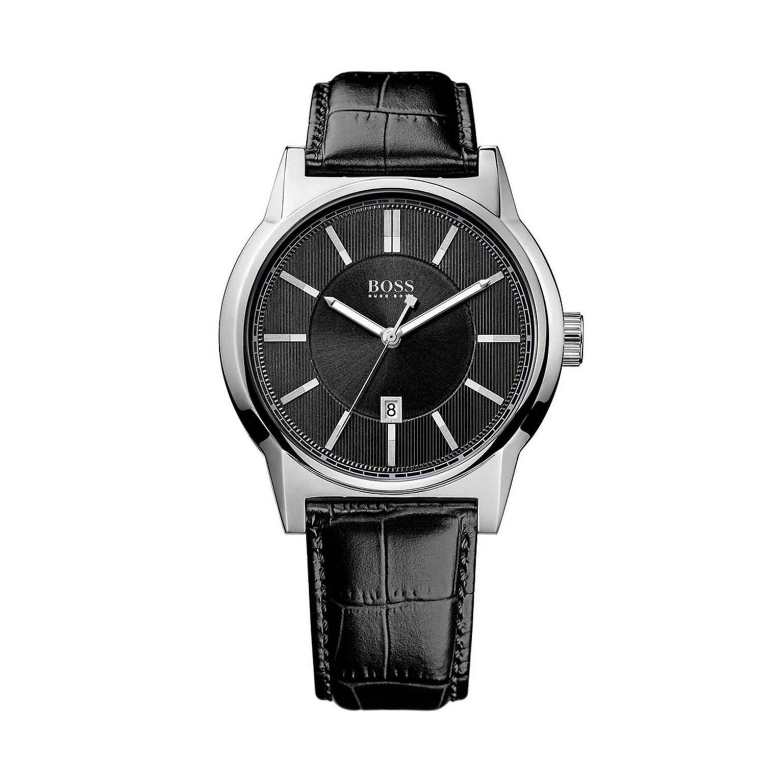 美國百分百【HUGO BOSS】配件 手錶 腕錶 男錶 鱷魚皮 壓紋 錶帶 不鏽鋼 石英機芯 紳士 雅痞 黑色 F527