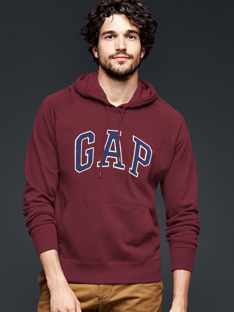 美國百分百【全新真品】GAP 帽T 上衣 外套 長袖 連帽 LOGO 貼布 酒紅 現貨 男 S號 E461
