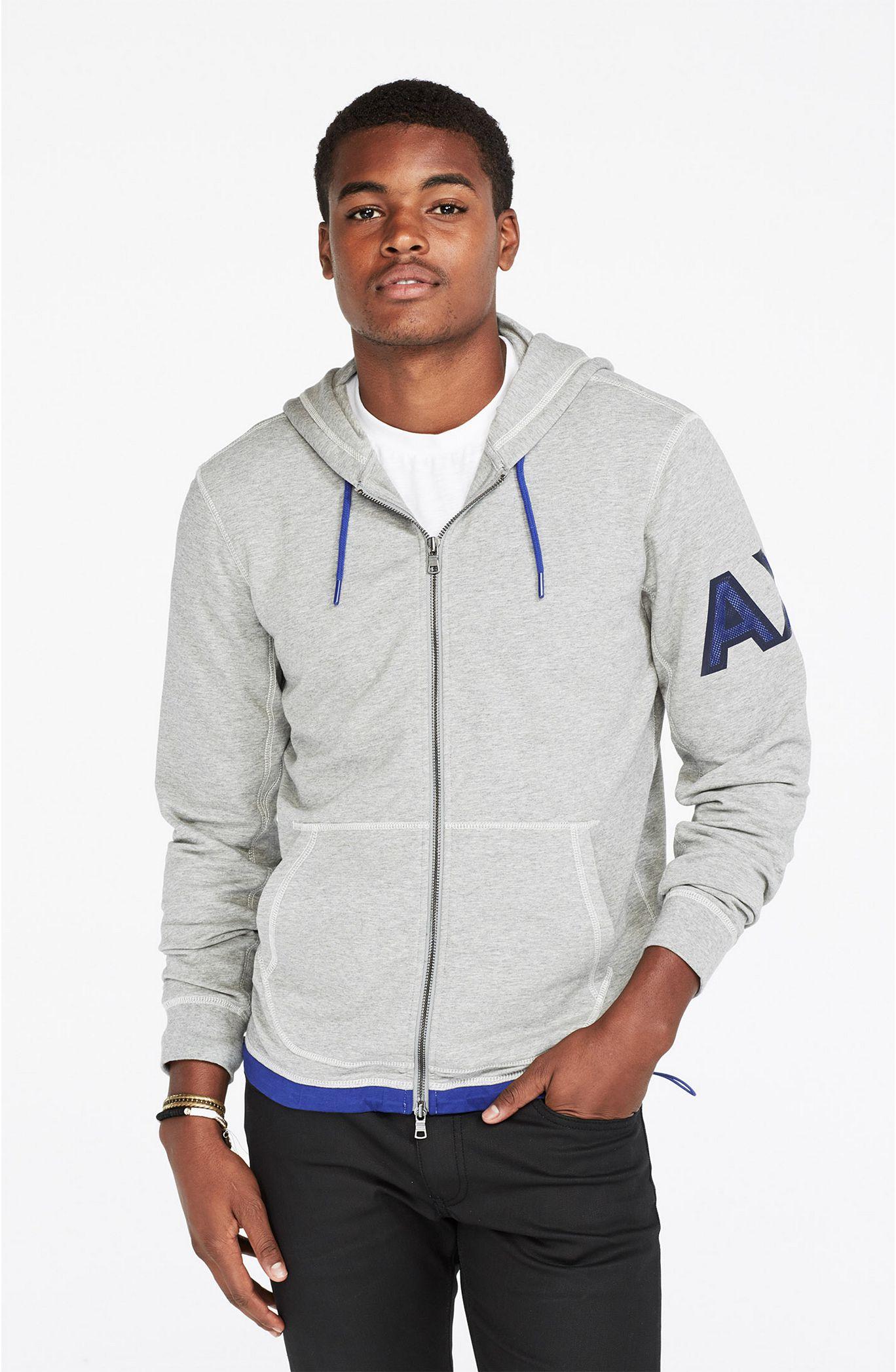 美國百分百【全新真品】Armani Exchange 外套 AX 連帽 夾克 亞曼尼 灰色 雙頭拉鏈 S M號 F534