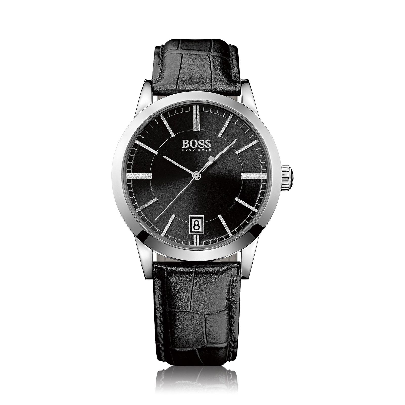 美國百分百【HUGO BOSS】配件 手錶 腕錶 男錶 鱷魚皮 壓紋 錶帶 不鏽鋼 石英機芯 紳士 雅痞 黑色 F406