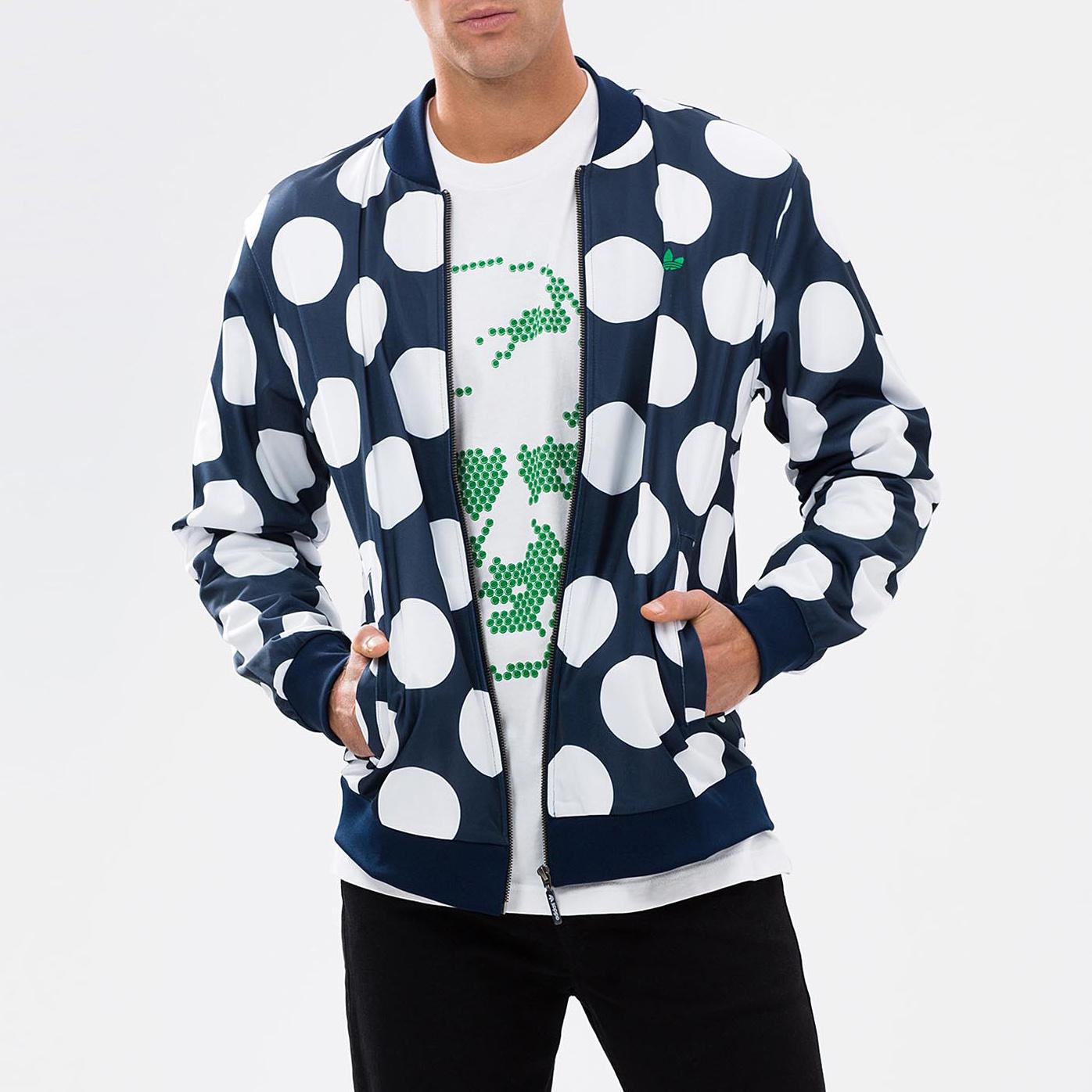 美國百分百【adidas】外套 愛迪達 布勞森 夾克 立領 Stan Smith 棒球外套 普普風 點點 深藍 S M號 F581