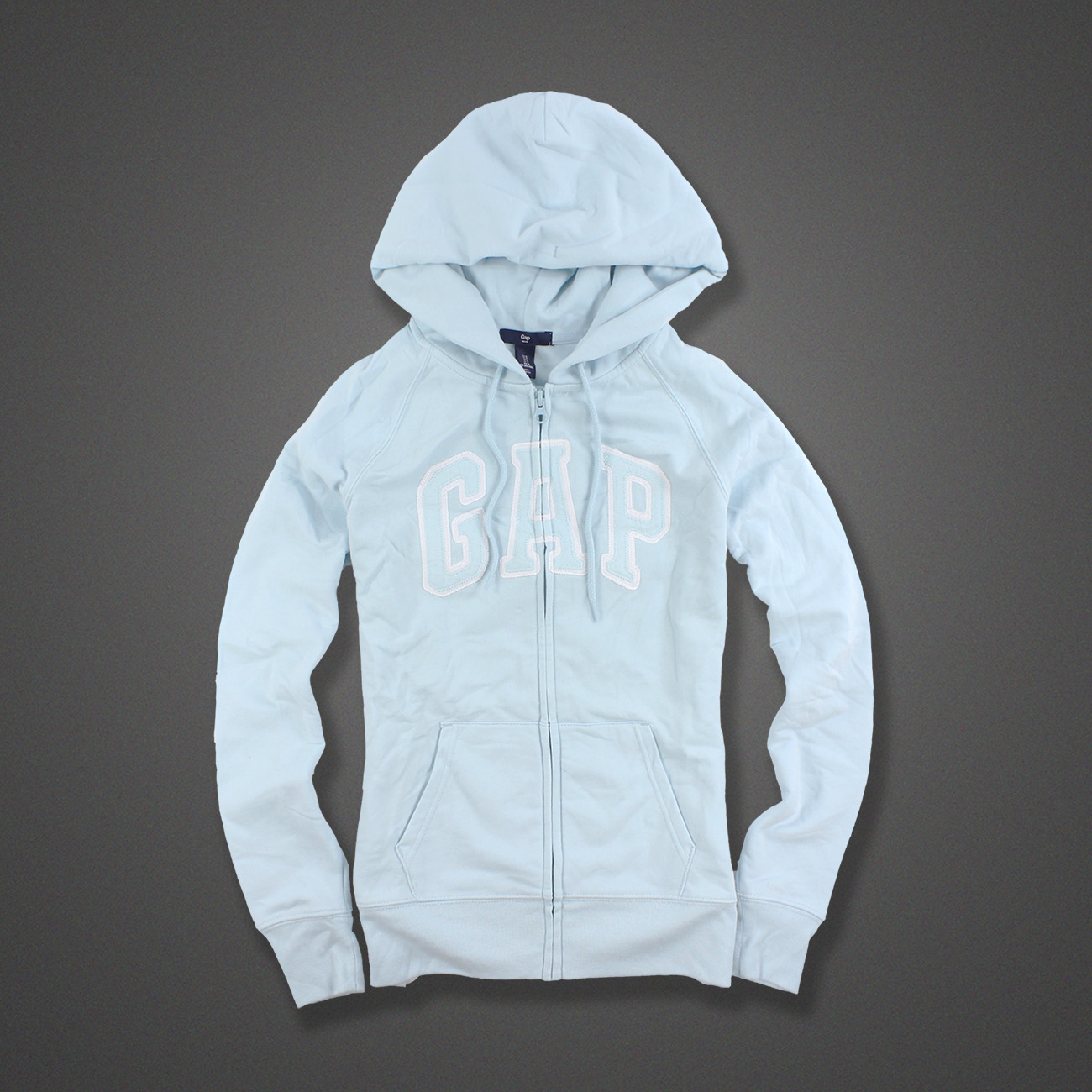 美國百分百【全新真品】GAP 外套 上衣 長袖 連帽 LOGO 貼布 現貨 女 S號 淺藍色 E926