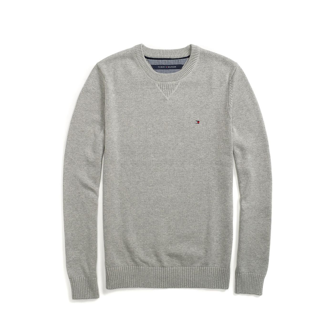 美國百分百【Tommy Hilfiger】針織衫 TH 線衫 毛衣 素面 圓領 休閒 厚版 灰色 M號 F609
