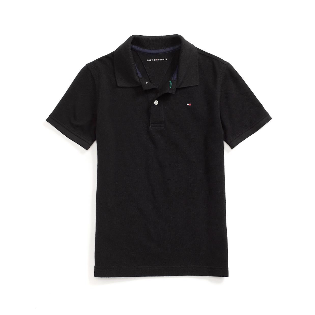 美國百分百【全新真品】Tommy Hilfiger Polo衫 TH 短袖 上衣 素面 網眼 黑色 XS號 F611