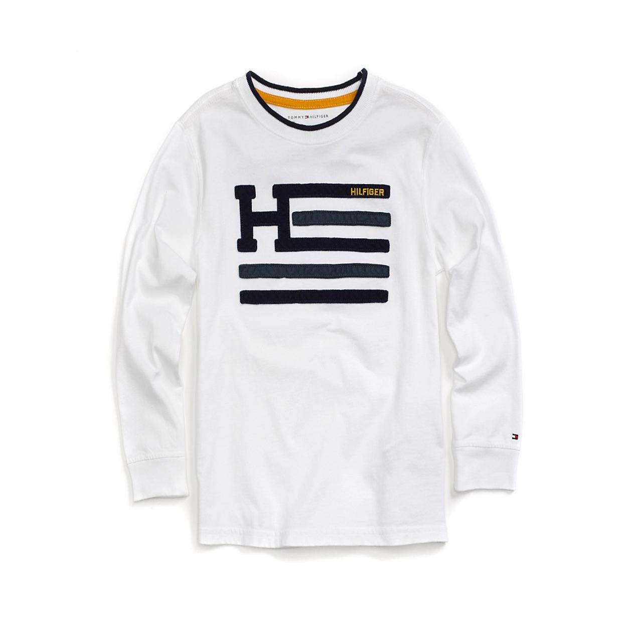 美國百分百【Tommy Hilfiger】T恤 TH 純棉 長袖 T-shirt logo 白色 XS號 F617