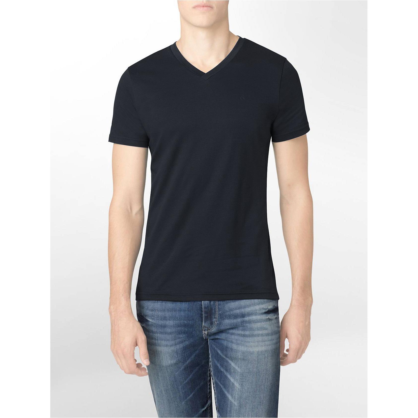 美國百分百【Calvin Klein】T恤 CK logo 短袖 T-shirt 短T 素面 V領 黑色 修身 XS號 F619