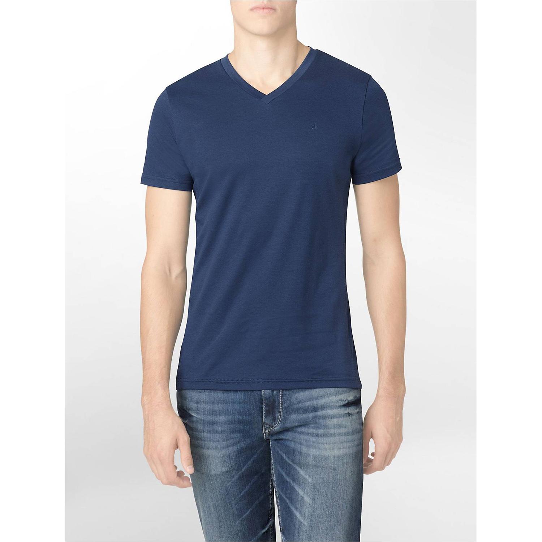 美國百分百【Calvin Klein】T恤 CK logo 短袖 T-shirt 短T 素面 V領 深藍 修身 XXS XS號 F619