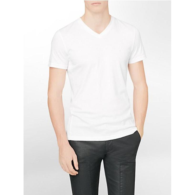 美國百分百【Calvin Klein】T恤 CK logo 短袖 T-shirt 短T 素面 V領 白色 修身 F619