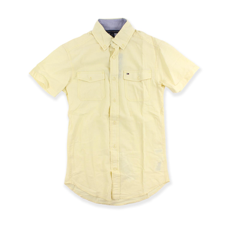 美國百分百【Tommy Hilfiger】襯衫 TH 短袖 上衣 棉麻 短襯 雙口袋 休閒衫 鵝黃 XXS號 F621
