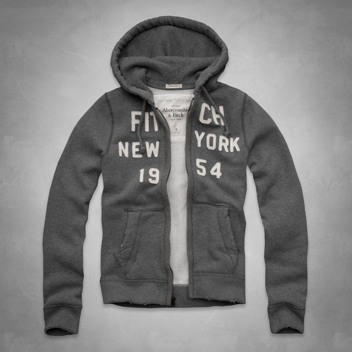 美國百分百【Abercrombie & Fitch】外套 AF 連帽 長袖 夾克 麋鹿 NY 灰色 特價 S M L號 F664