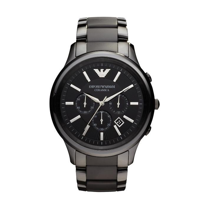 美國百分百【Emporio Armani】配件 手錶 腕錶 男錶 石英 老鷹 不鏽鋼 陶瓷 三眼 消光霧面 F686