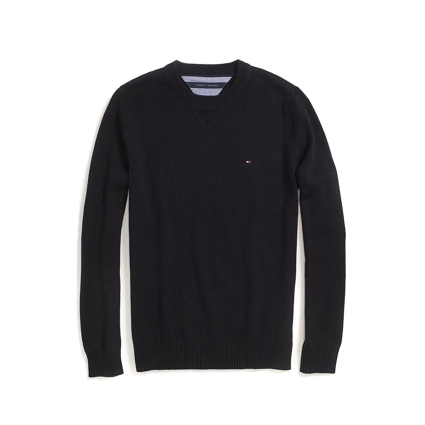 美國百分百【Tommy Hilfiger】針織衫 TH 線衫 毛衣 素面 圓領 休閒 厚版 黑色 S M號 F609