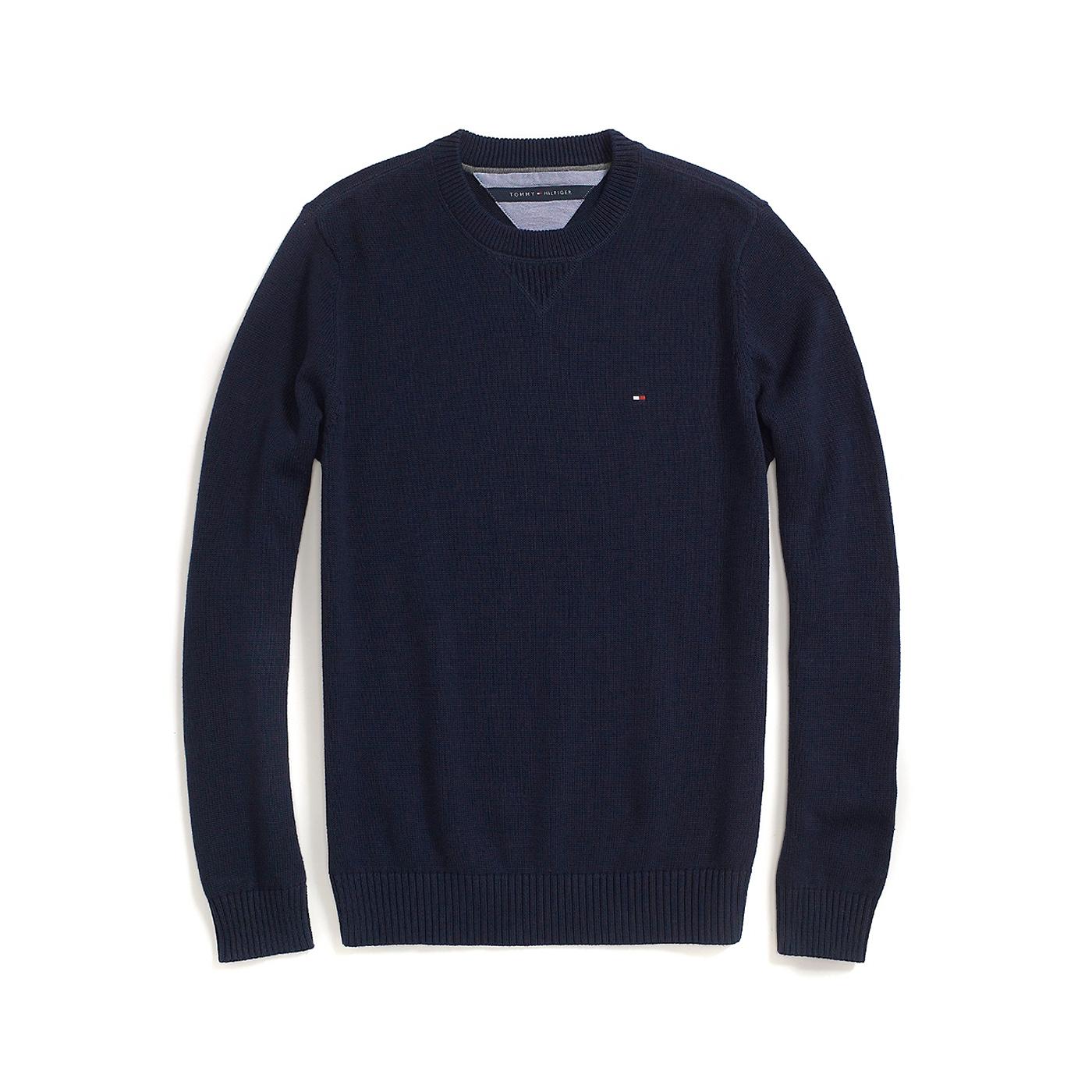 美國百分百【Tommy Hilfiger】針織衫 TH 線衫 毛衣 素面 圓領 休閒 厚版 深藍色 S M號 F609