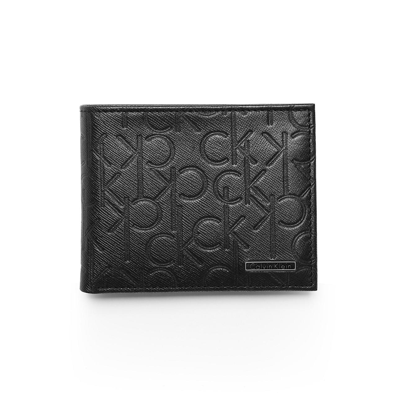 美國百分百【Calvin Klein】皮夾 CK 短夾 真皮 二折 皮革 質感 鈔票 壓紋 男 黑色 F633