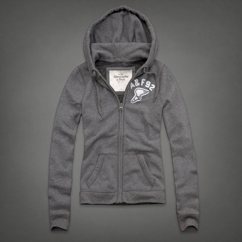 美國百分百【Abercrombie & Fitch】連帽 AF 外套 麋鹿 翅膀 灰色 長袖 女 L號 特價 C805