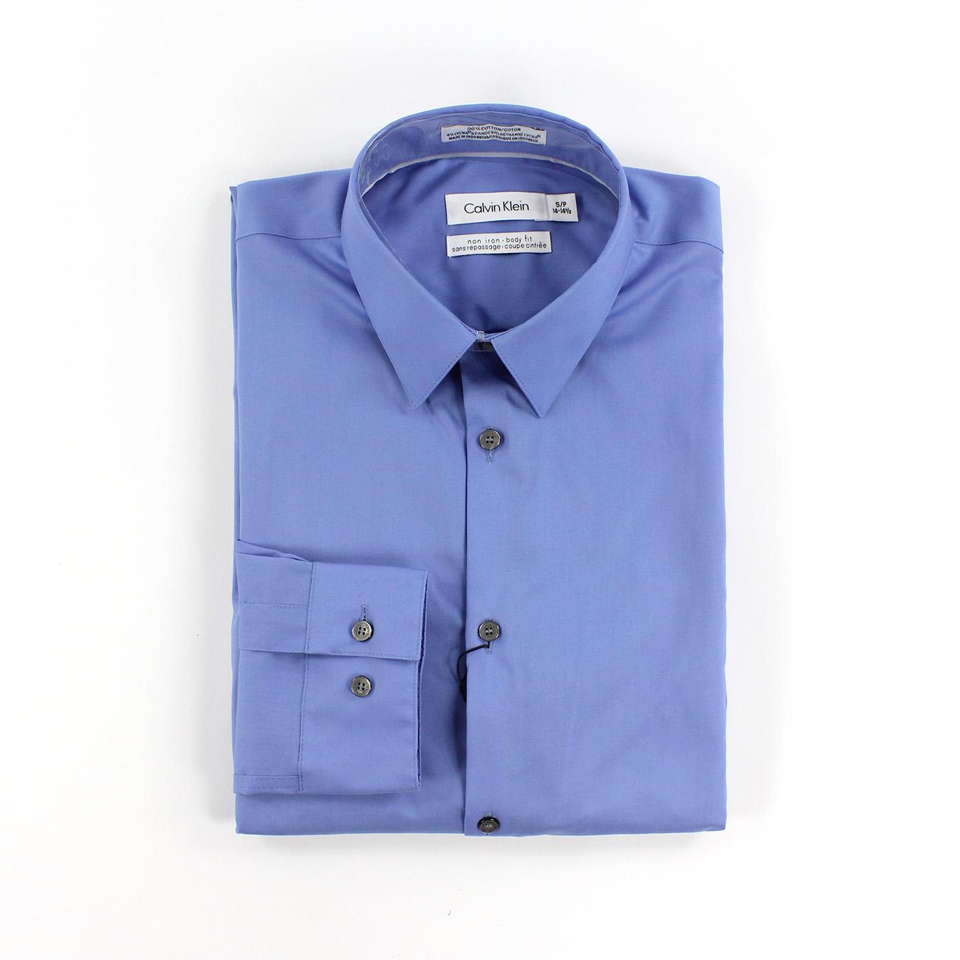 美國百分百【全新真品】Calvin Klein 襯衫 CK 男衣 上班 長袖 上衣 商務 專櫃款 淺藍 XS號 C615