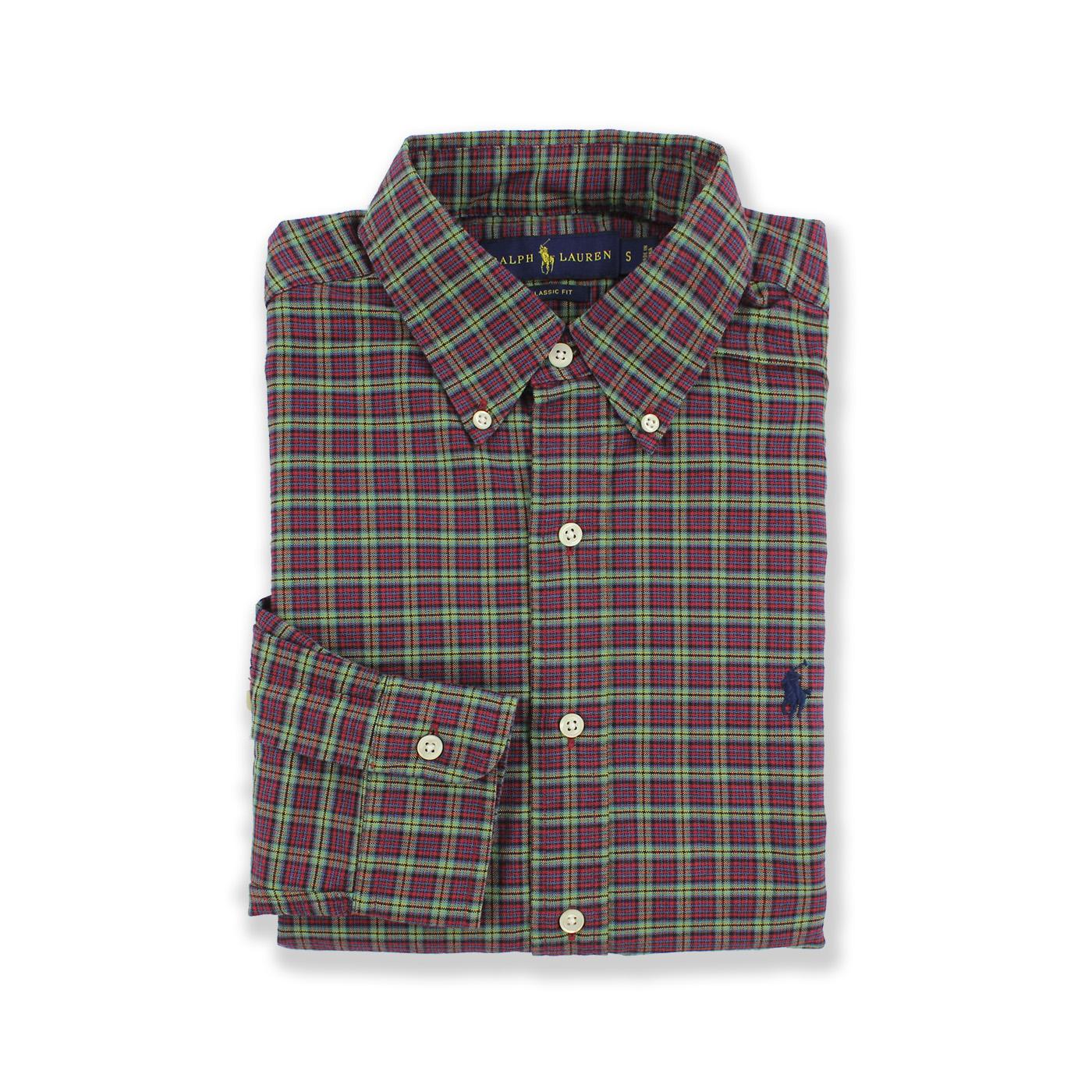 美國百分百【Ralph Lauren】長袖 襯衫 RL 男 POLO 小馬 格紋 上衣 紅色 藍色 綠色 S號 F720