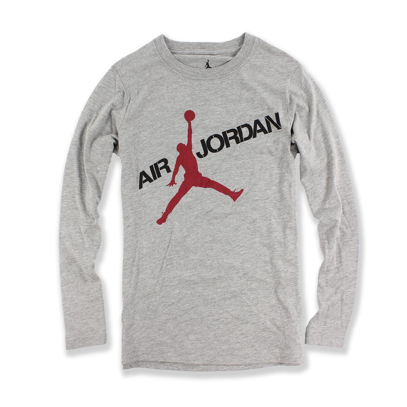 美國百分百【全新真品】Jordan 喬丹 上衣 男 logo 長袖 T恤 T-shirt 灰色 XS號 F743