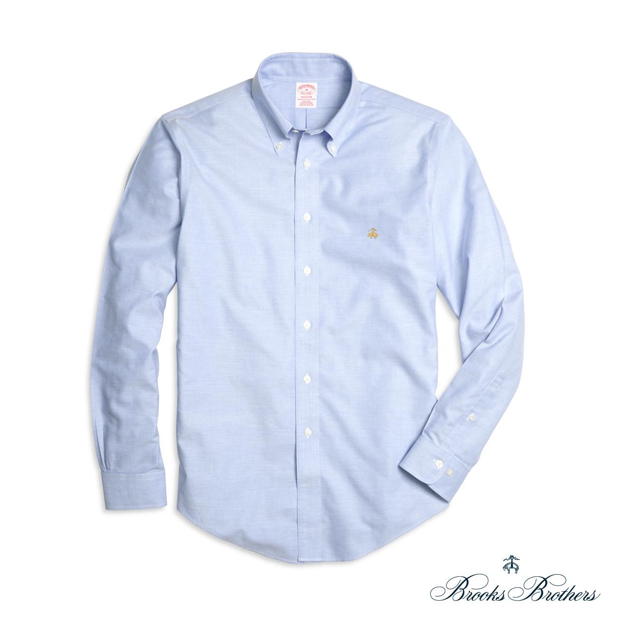 美國百分百【全新真品】Brooks Brothers 布克兄弟 牛津 襯衫 長袖 休閒 上衣 淡藍色 S M號 F772