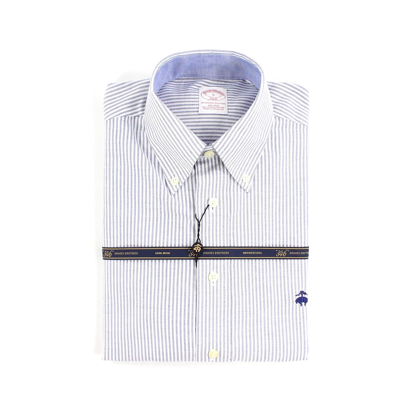 美國百分百【全新真品】Brooks Brothers 布克兄弟 牛津 襯衫 條紋 長袖 休閒 上衣 藍白 S號 F773