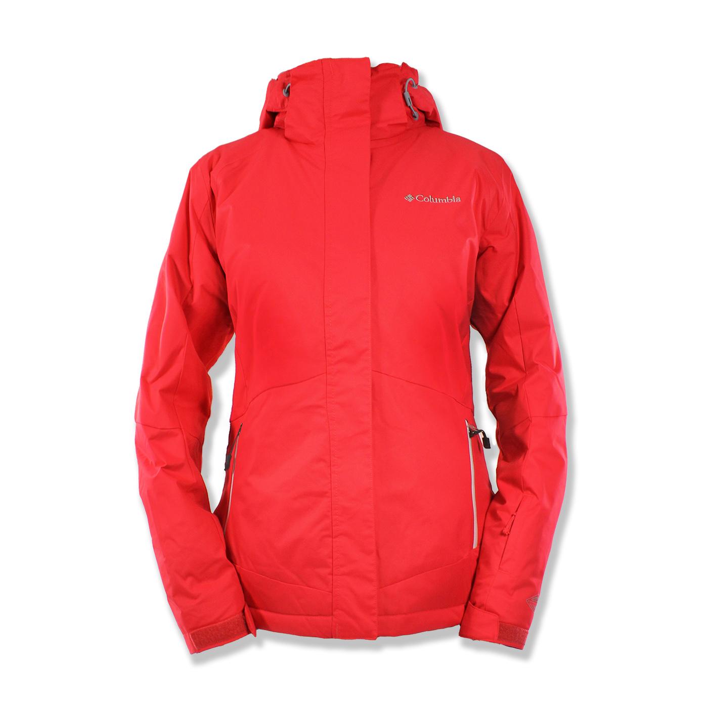 美國百分百【全新真品】Columbia 外套 夾克 連帽外套 哥倫比亞 兩件式 防水 發熱 紅色 女 S M號 F778