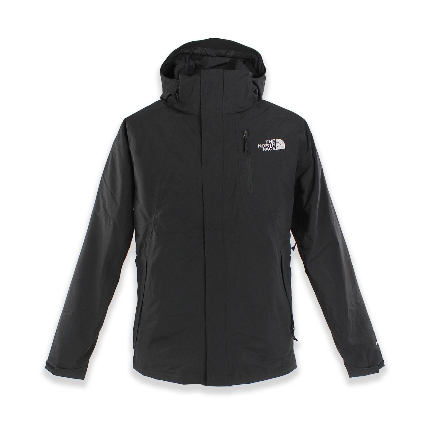 美國百分百【The North Face】防風 連帽 外套 TNF 防水 保暖 刷毛 兩件式 北臉 黑色 S號 F789