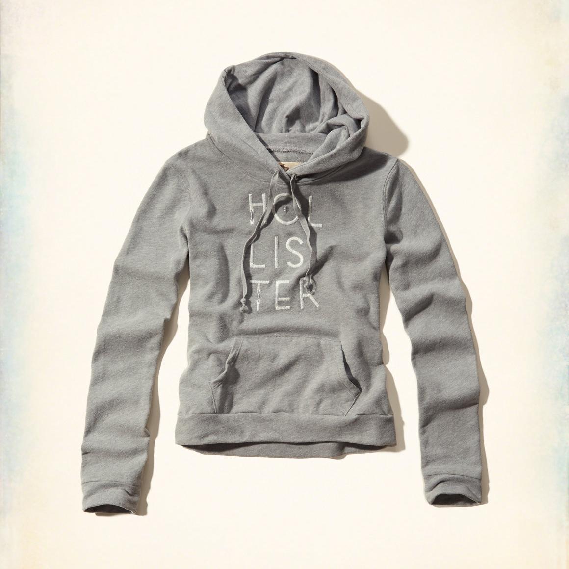 美國百分百【全新真品】Hollister Co. 帽T HCO 連帽 長袖 T恤 海鷗 灰色 女 XS號 特價 F800