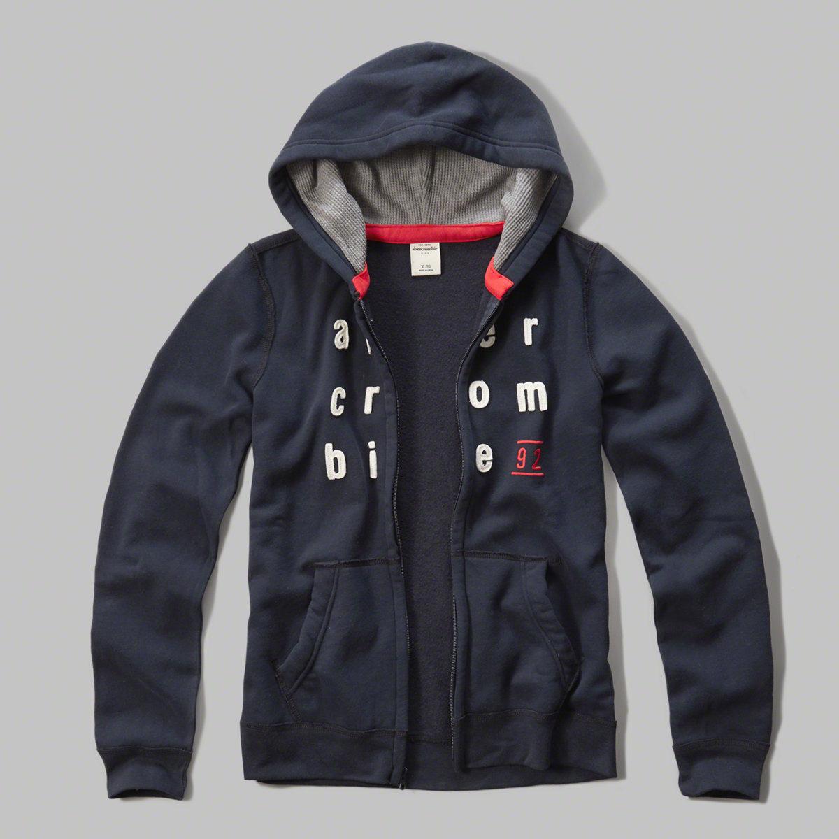 美國百分百【Abercrombie & Fitch】外套 AF 連帽 長袖 夾克 麋鹿 深藍 男 女 特價 XS S號 F804