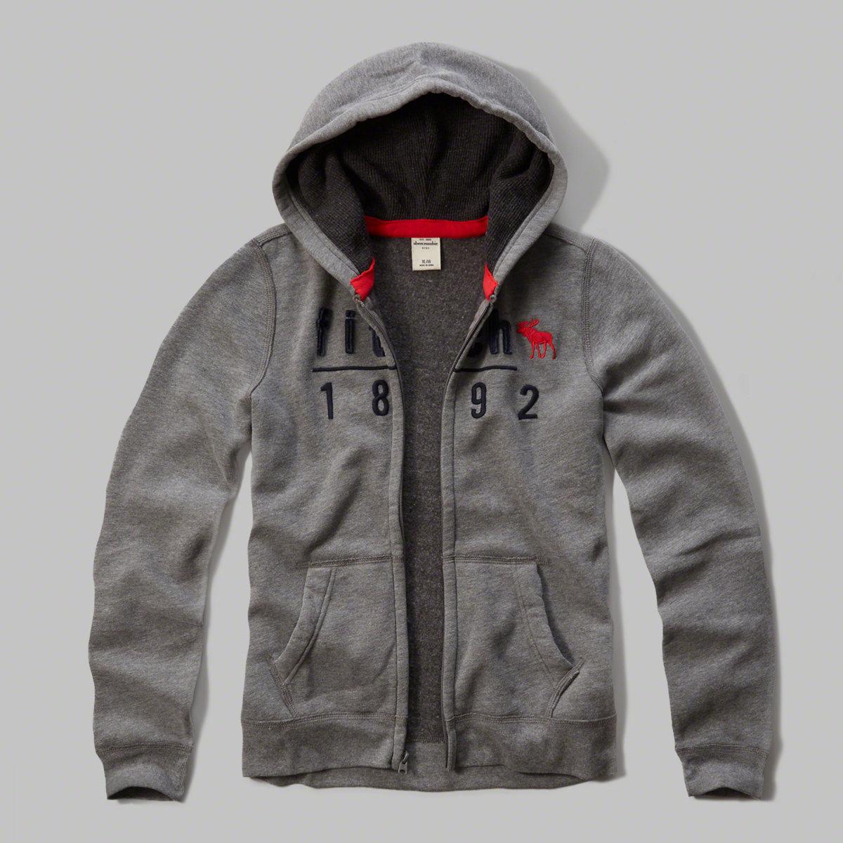 美國百分百【Abercrombie & Fitch】外套 AF 連帽 長袖 夾克 麋鹿 灰色 男 女 S號 特價 F808