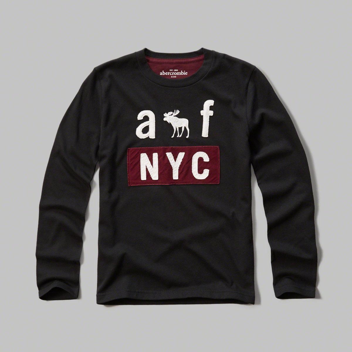 美國百分百【Abercrombie & Fitch】T恤 AF 長袖 T-shirt 麋鹿 黑色 男 女 特價 XS S號 F811