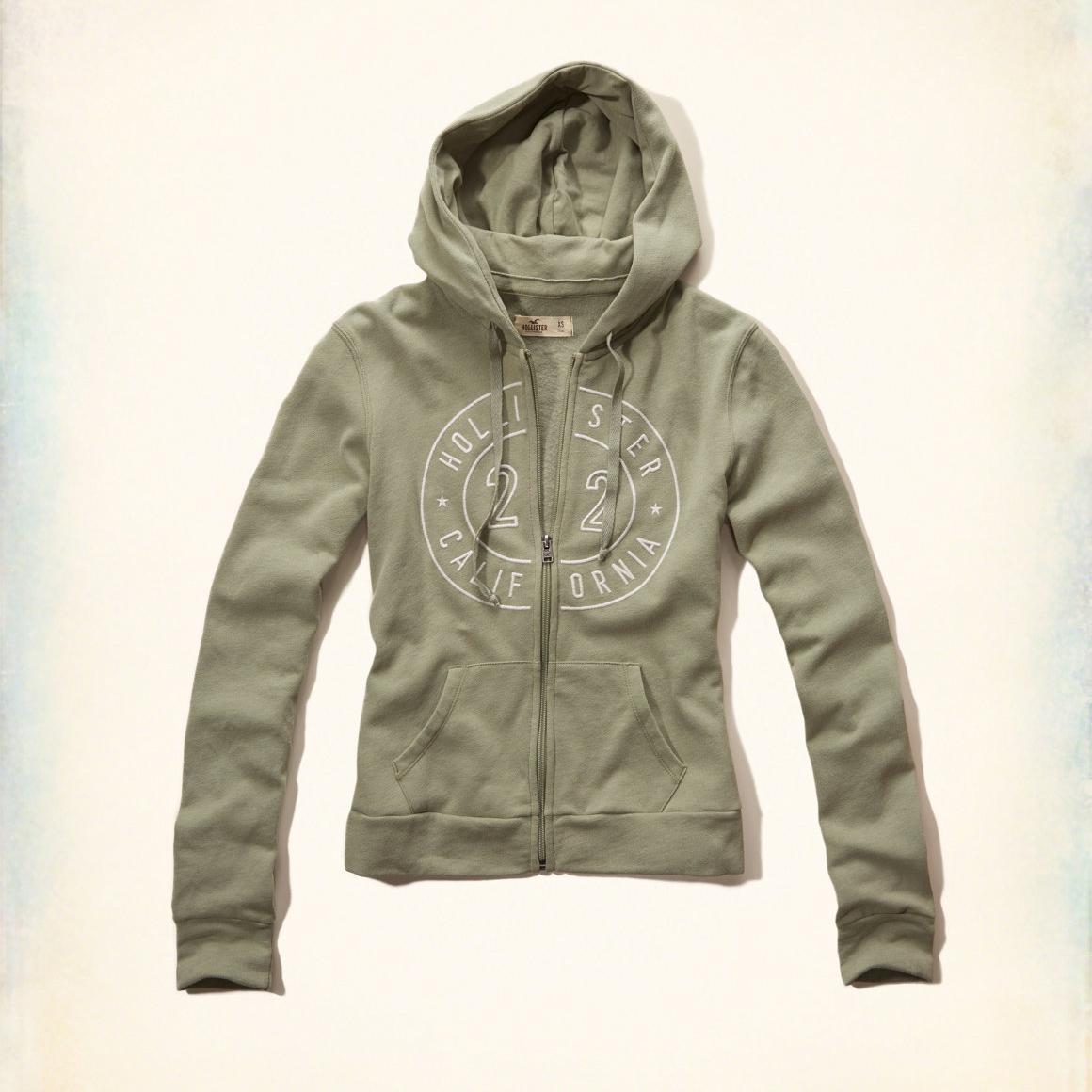 美國百分百【全新真品】Hollister Co. 外套 HCO 連帽 長袖 夾克 海鷗 刷毛 淺綠 女 特價 XS S M號 F822