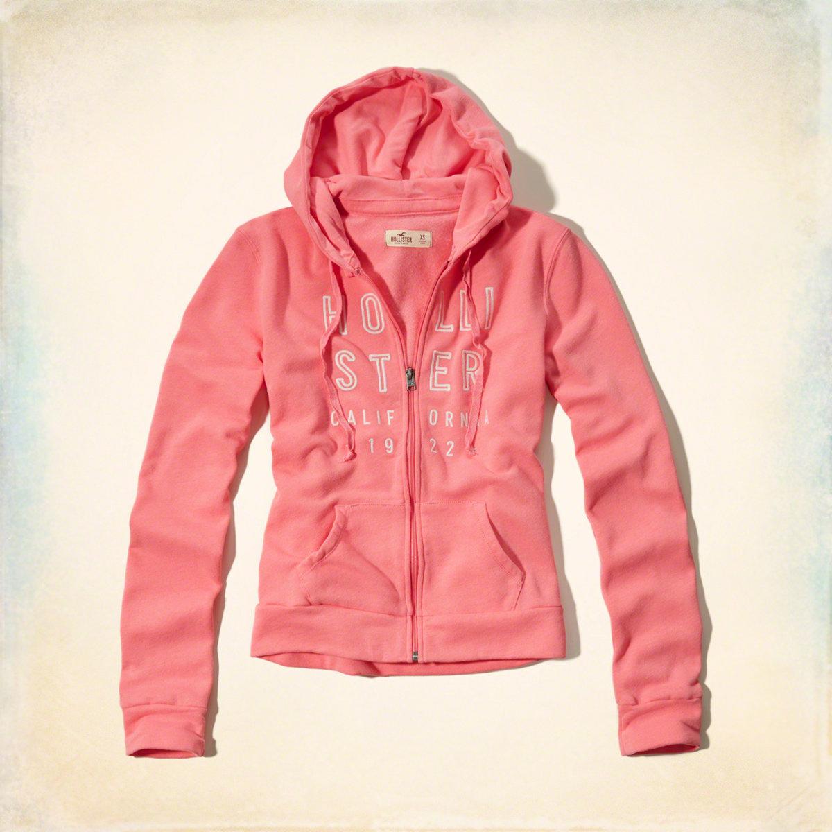美國百分百【全新真品】Hollister Co. 外套 HCO 連帽 長袖 夾克 海鷗 刷毛 粉紅色 女 特價 M號 F823