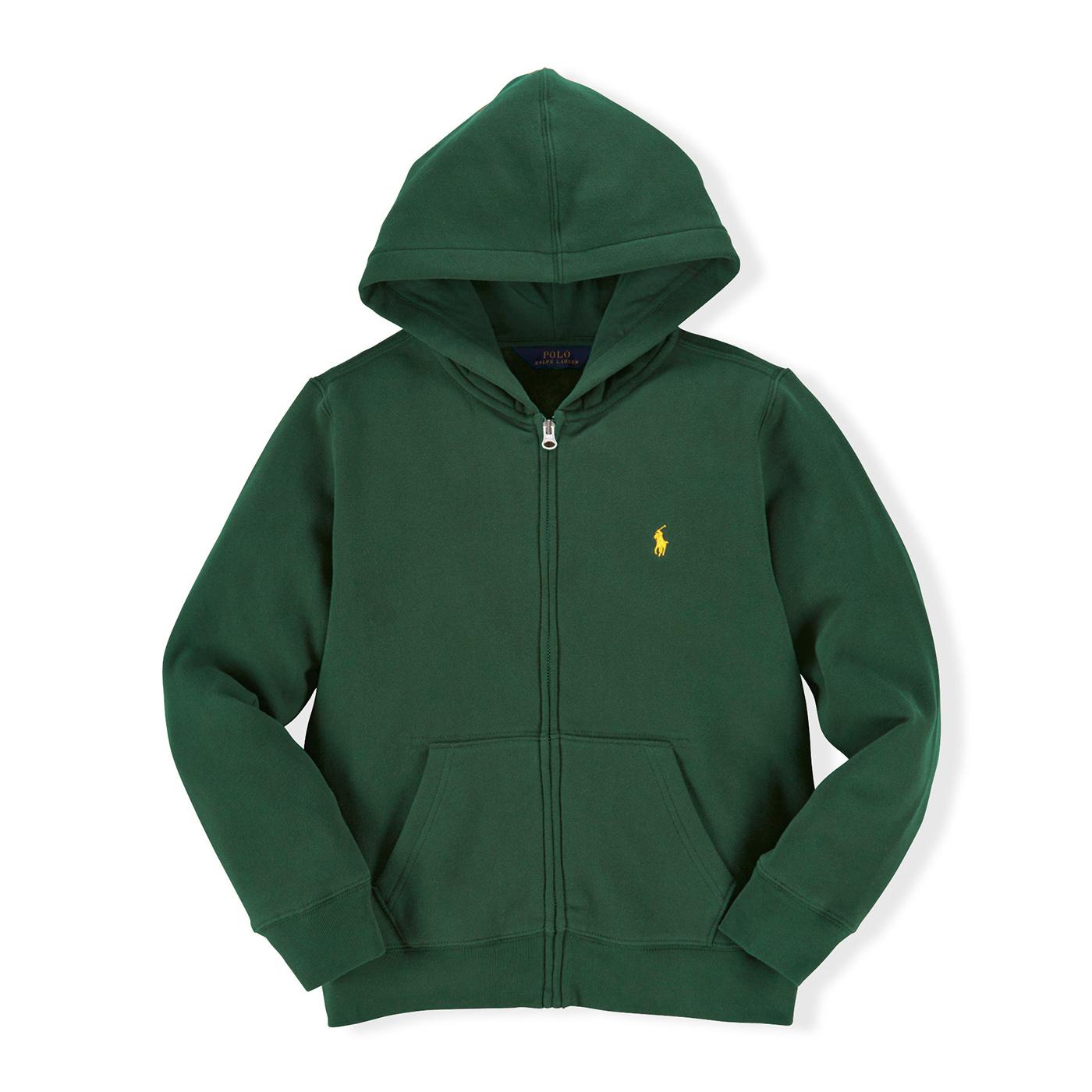 美國百分百【全新真品】Ralph Lauren RL 連帽 薄外套 棉質 帽T 夾克 深綠色 POLO S號 B038