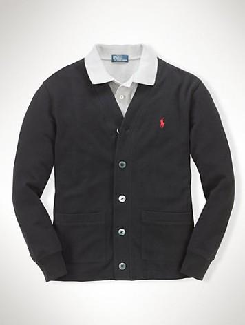 美國百分百【全新真品】Ralph Lauren 針織衫 RL 網眼 開釦 罩衫 POLO 黑色 外套 S號 B572
