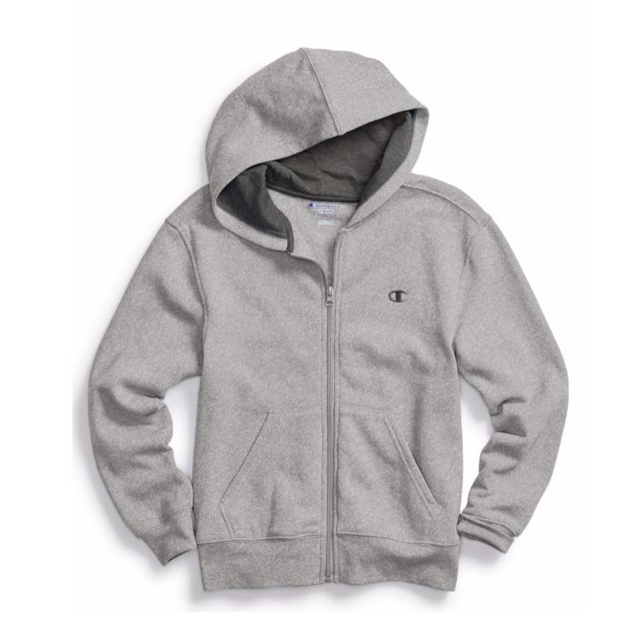 美國百分百【全新真品】Champion 冠軍 棉質 連帽 外套 長袖 刷毛 上衣 淺灰色 XS S號 C821