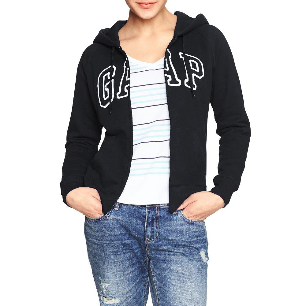 美國百分百【全新真品】GAP 外套 上衣 長袖 連帽 LOGO 貼布 現貨 女 S號 黑色 E926