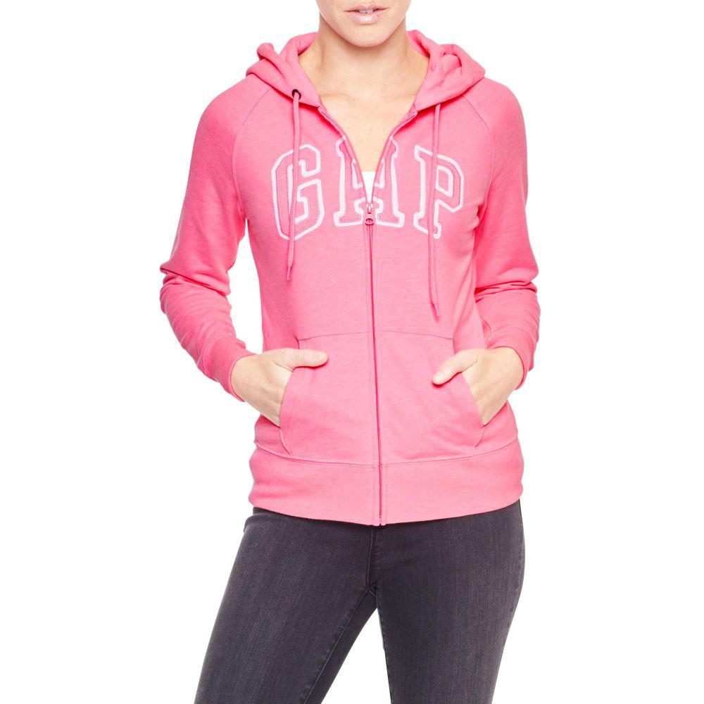 美國百分百【全新真品】GAP 外套 上衣 長袖 連帽 LOGO 貼布 現貨 女 XS S號 螢光 粉紅色 E926