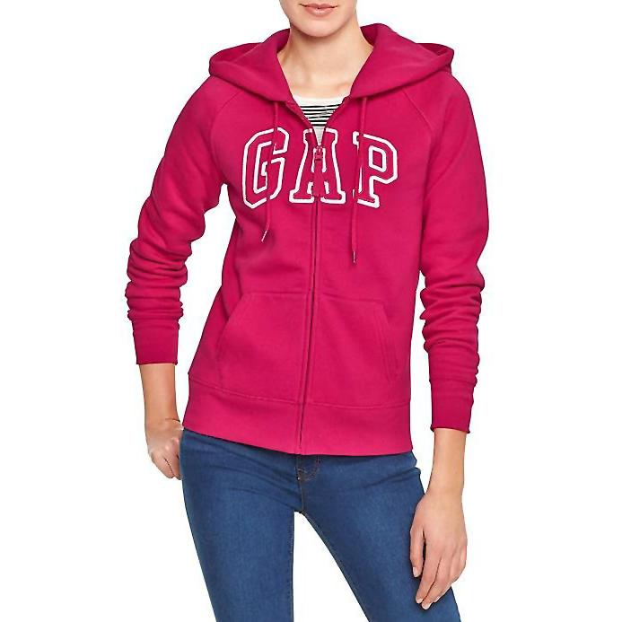 美國百分百【全新真品】GAP 外套 上衣 長袖 連帽 LOGO 貼布 現貨 女 XS S號 桃紅色 E926