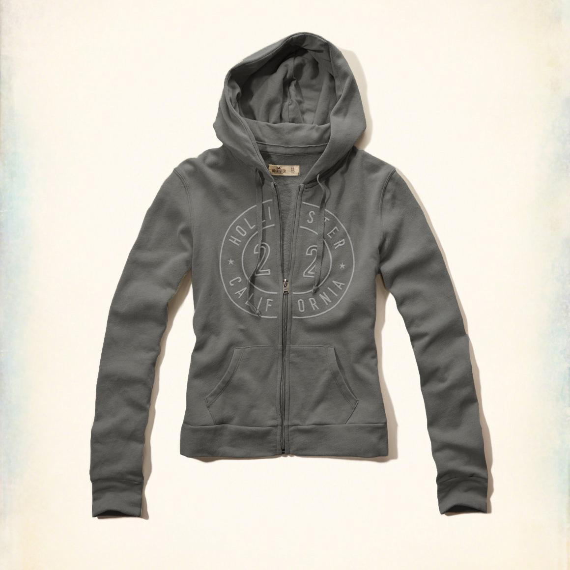 美國百分百【全新真品】Hollister Co. 外套 HCO 連帽 長袖 夾克 海鷗 刷毛 灰色 女 特價 XS S M號 F822