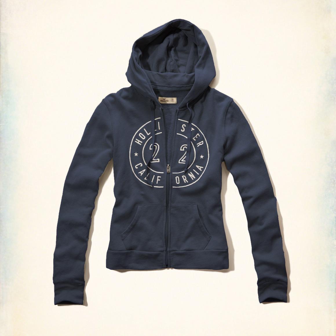 美國百分百【全新真品】Hollister Co. 外套 HCO 連帽 長袖 夾克 海鷗 刷毛 深藍色 女 特價 XS S M號 F822